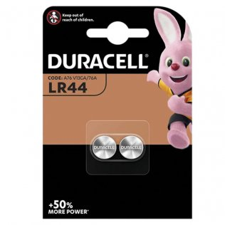 Pilas Duracell de botón LR44 - 1,5V / blíster 2 ud