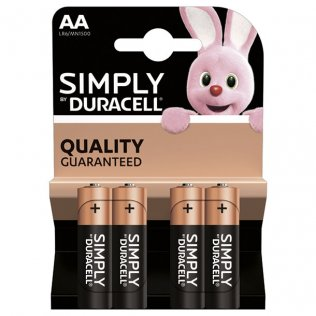 Pilas Duracell alcalinas Simply AA / blíster 4 ud
