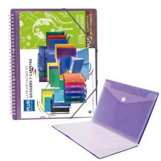 Carpeta Violeta con 20 fundas y espiral Plus Office