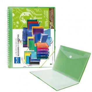 Carpeta Verde con 30 fundas y espiral Plus Office