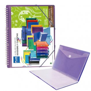 Carpeta Violeta con 30 fundas y espiral Plus Office