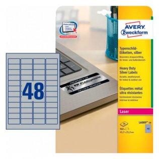 Etiquetas plateadas poliéster Avery 45,7x21,2mm 960ud.