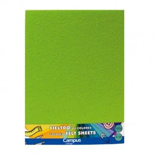 Fieltro Campus College 160gr A4 1 mm Bolsa 3 Unid Verde claro