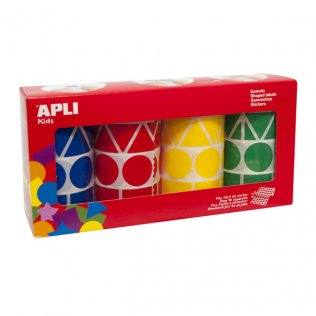 Pack Gomets Geométricos XL Az/Ro/Am/Ve 4 Rollos Apli Kids