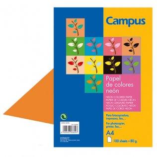 Papel A4 Naranja neón 80g 100 hojas Campus