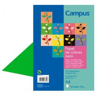 Papel A4 Verde neón 80g 100 hojas Campus