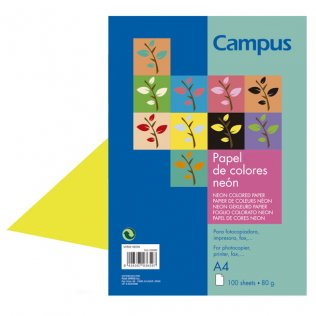Papel A4 Amarillo neón 80g 100 hojas Campus