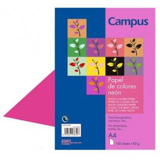 Papel A4 Rosa neón 80g 100 hojas Campus