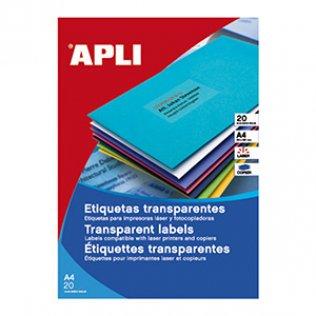 Etiquetas traslúcidas A4 14 por hoja 99,1x38,1mm Apli 20 hojas