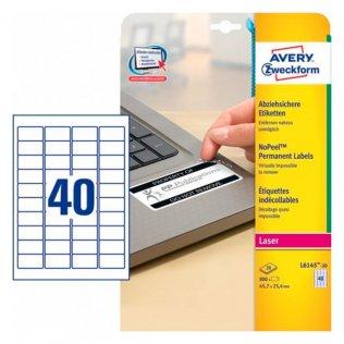 Etiquetas blancas anti-fraude 45,7x25,4mm Avery 800ud.