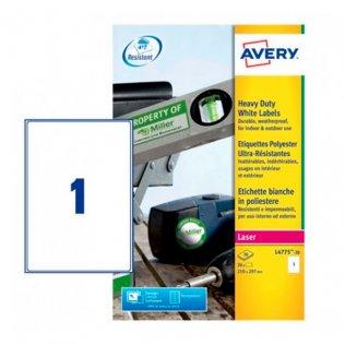 Etiquetas blancas poliéster Avery A4 20ud.