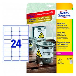 Etiquetas blancas poliéster Avery 63,5x33,9mm 480ud.