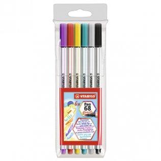 Rotulador Stabilo Pen 68 Brush Estuche 6 colores