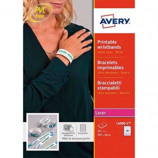 Pulseras identificativas imprimibles 265x18mm 50ud Avery