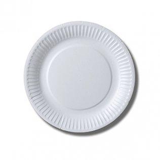 Plato blanco cartón 100 unid 18 cm