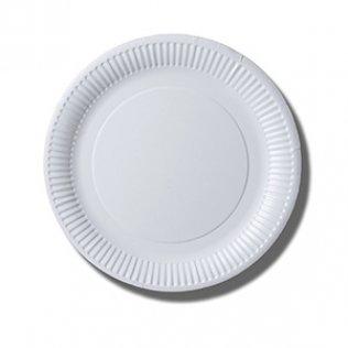 Plato blanco cartón 100 unid 23 cm