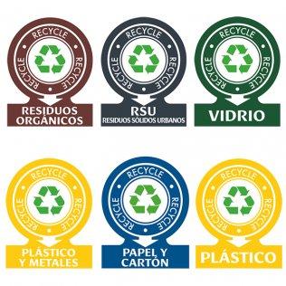 Pegatinas para contenedores de residuos 144 x 110 mm