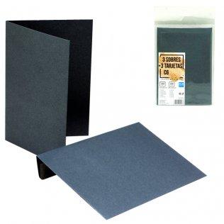 Sobres + tarjetas gris metalizado C6 114x162mm 3ud Plus Office