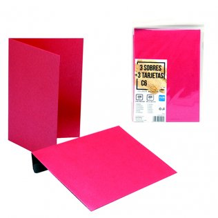 Sobres + tarjetas rojo metalizado C6 114x162mm 3ud Plus Office