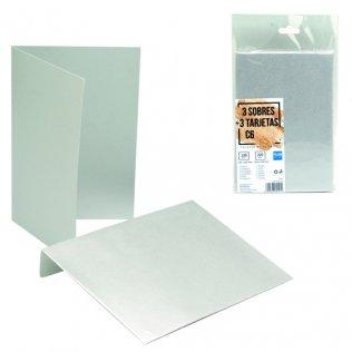 Sobres + tarjetas plata metalizado C6 114x162mm 3ud Plus Office