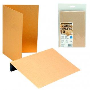 Sobres + tarjetas oro metalizado C6 114x162mm 3 ud Plus Office