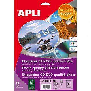 Etiquetas Mega CD-DVD Inkjet Glossy Adhesivo permanente Bolsa de 10 hojas A4 (20 etiq.)