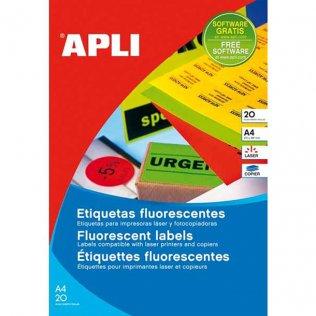Etiquetas Apli 64x33,9 fluor Amarillas
