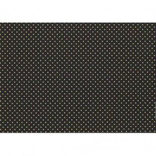 Bobina papel de regalo 70cm x 180m Negro con motas doradas
