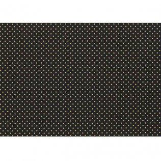 Bobina papel de regalo 70cm x 100m Negro con motas doradas