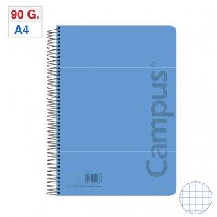 Bloc Espiral Tapa PP A4 80H - 90g Azul Claro Cuadrícula 4x4 mm