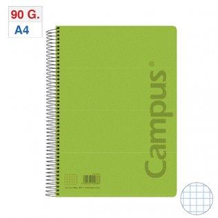 Bloc espiral Tapa PP A4 80H - 90g Verde Claro Cuadrícula 4x4 mm