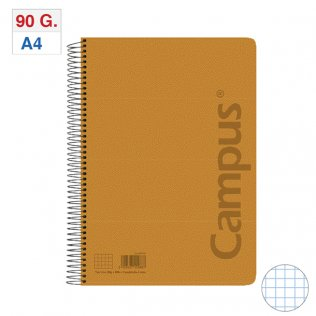 Bloc espiral Tapa PP A4 80H - 90g Naranja Cuadrícula 4x4 mm