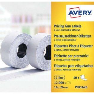 Etiqueta removible para Etiquetadora Avery 2 líneas 1200/rollo