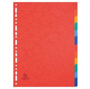 Separadores cartulina lustrada 12 colores A4 Exacompta