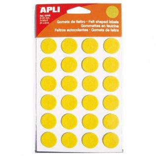 Gomets Apli fieltro redonda 20mm 1h amarillo