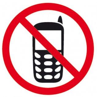 Etiquetas de señalización Apli Prohibido móvil