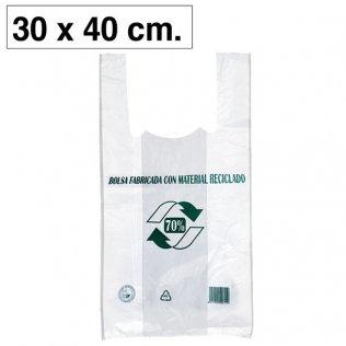Bolsas blancas de plástico camiseta 300x400mm 100ud