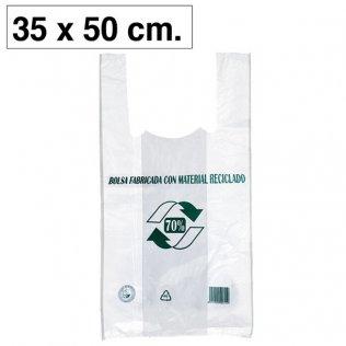 Bolsas blancas de plástico camiseta 350x500mm 100ud