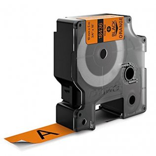 Cinta Dymo Rhino vinilo 19mm x 5,5m Negro/Naranja