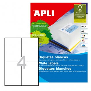 Etiquetas autoadhesivas blancas permanentes 105x148 mm 100 ud Apli