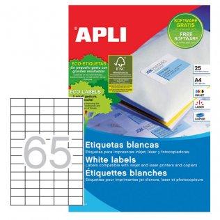Etiquetas autoadhesivas blancas 38x21,2 mm 1600ud Apli