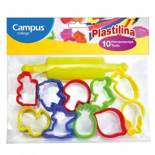 Set 10 moldes + rodillo para plastilina