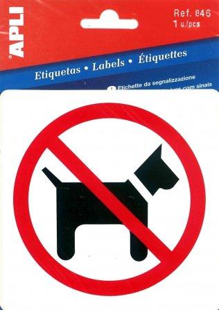 APLI 846-Etiqueta señalización prohibido perros