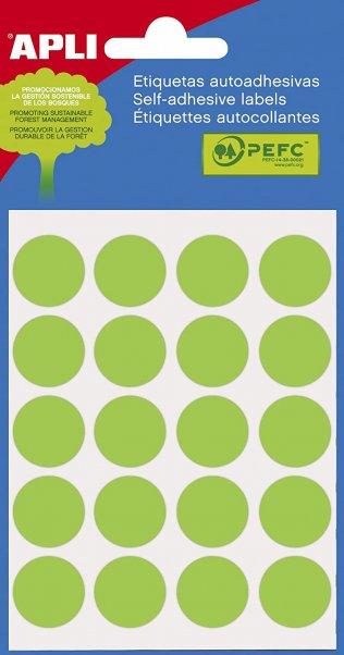 APLI 2066 - Etiquetas verdes (Ø 19) 5 hojas