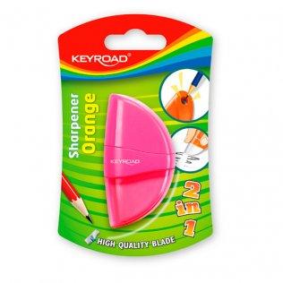 Afilalápiz KeyRoad Orange 2 en 1 + goma de borrar