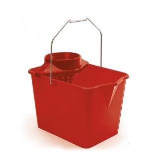 Cubo con escurridor para fregonas rojo 14 litros