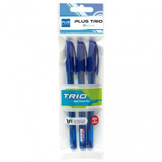 Bolígrafo Plus Trio Azul Blíster 3 ud