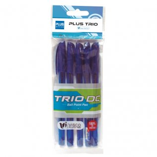 Bolígrafo Plus Trio Azul Blíster 5 ud