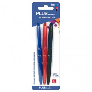 Bolígrafo Plus Soft Surtidos Blíster 3 ud