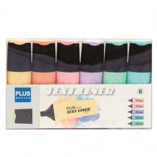 Marcador Fluorescente Plus Office Text Liner Blíster 6 colores pastel